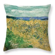 Wheat Field With Cornflowers Throw Pillow