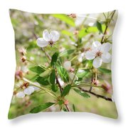 White Cherry Flower Throw Pillow