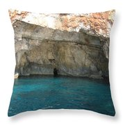 White Cliffs And Attractive Blue Caves On Island Of Zakinthos Sh Throw Pillow