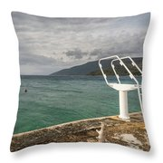 White Ladder Of A Diving Board At The Beach In Cres Throw Pillow