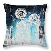 3 White Roses Throw Pillow