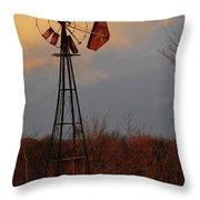 Windmill At Dusk Throw Pillow