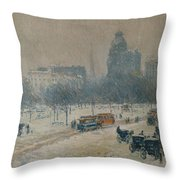 Winter In Union Square Throw Pillow