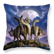 3 Wolves Mooning Throw Pillow