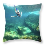 Woman Free Diving Throw Pillow