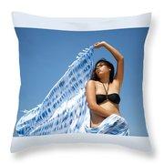 Woman In Sarong Throw Pillow