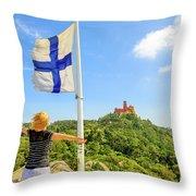 Woman Tourist In Sintra Throw Pillow