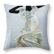 Woman With Black Boby Paint In Paper Dress Throw Pillow