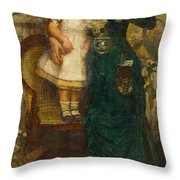 Woman With Child And Goldfish Throw Pillow