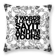 3 Words White Throw Pillow