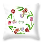 Wreath With Tulips Throw Pillow