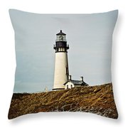 Yaquina Head Lighthouse - Toned By Texture Throw Pillow