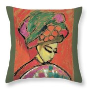 Young Girl With A Flowered Hat Throw Pillow