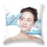 Young Woman Having Botox Face Injections. Throw Pillow