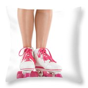 Young Woman Wearing Roller Derby Skates Throw Pillow