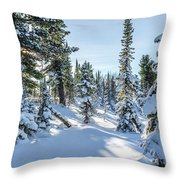 Amazing Landscape With Frozen Snow-covered Trees In Winter Morning  Throw Pillow