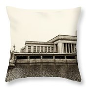 30th Street Station From The River Walk In Sepia Throw Pillow
