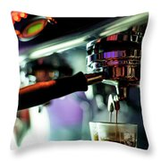 Making Espresso Coffee Close Up Detail With Modern Machine Throw Pillow