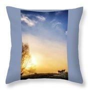 Misty Mountain Sunrise Throw Pillow