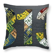 313 Area Code Detroit Michigan Recycled Vintage License Plate Art Throw Pillow