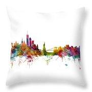 New York Skyline Throw Pillow by Michael Tompsett