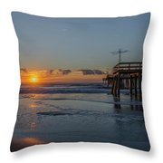 32nd Street Pier Avalon Nj - Sunrise Throw Pillow