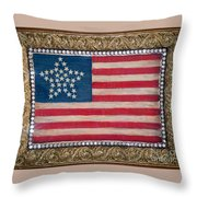 33 Star American Flag. Painting Of Antique Design Throw Pillow