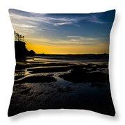 Sunset Bay Beach Throw Pillow