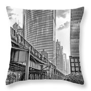 333 W Wacker Drive Black And White Throw Pillow