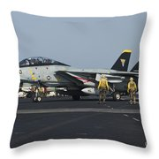 An F-14d Tomcat On The Flight Deck Throw Pillow