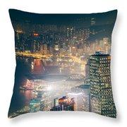 Hong Kong Victoria Harbour  Throw Pillow