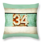 34 On Weathered Aqua Throw Pillow