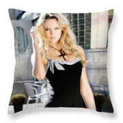345337 Women Long Hair Lips Eyes Candice Swanepoel Throw Pillow