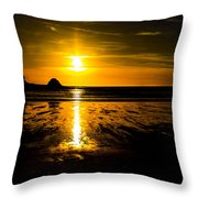 Sunset Bay Beach Throw Pillow