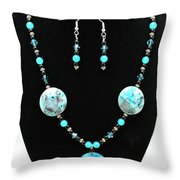 3508 Crazy Lace Agate Necklace And Earrings Throw Pillow