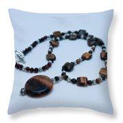 3516 Tiger Eye Necklace  Throw Pillow