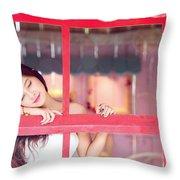 351943 Closed Eyes Asian Women Model Throw Pillow