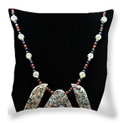 3521 Crinoid Fossil Jasper Necklace Throw Pillow