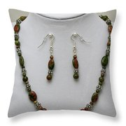 3525 Unakite Necklace And Earring Set Throw Pillow