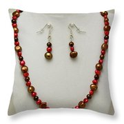 3536 Freshwater Pearl Necklace And Earring Set Throw Pillow