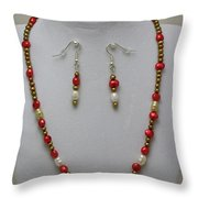 3539 Pearl Necklace And Earring Set Throw Pillow