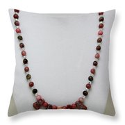 3541 Rhodonite And Jasper Necklace Throw Pillow