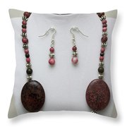 3544 Rhodonite Necklace Bracelet And Earring Set Throw Pillow
