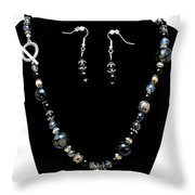 3545 Black Cracked Agate Necklace And Earring Set Throw Pillow