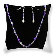 3546 Purple Veined Agate Set Throw Pillow