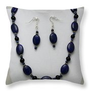 3555 Lapis Lazuli Necklace And Earring Set Throw Pillow