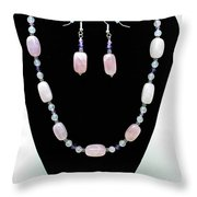 3560 Rose Quartz Necklace And Earrings Set Throw Pillow