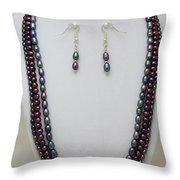 3562 Triple Strand Freshwater Pearl Necklace Set Throw Pillow