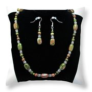 3565 Unakite Necklace And Earrings Set Throw Pillow