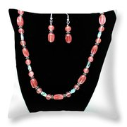 3570 Cherry Quartz Czech Glass Set Throw Pillow